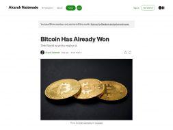 Bitcoin already Won